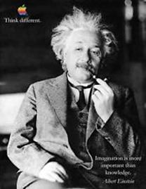 """(""""Imaginação é mais importante que conhecimento"""", frase de Einstein utilizada em comercial da Apple)"""
