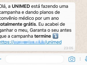 golpe unimed whatsapp
