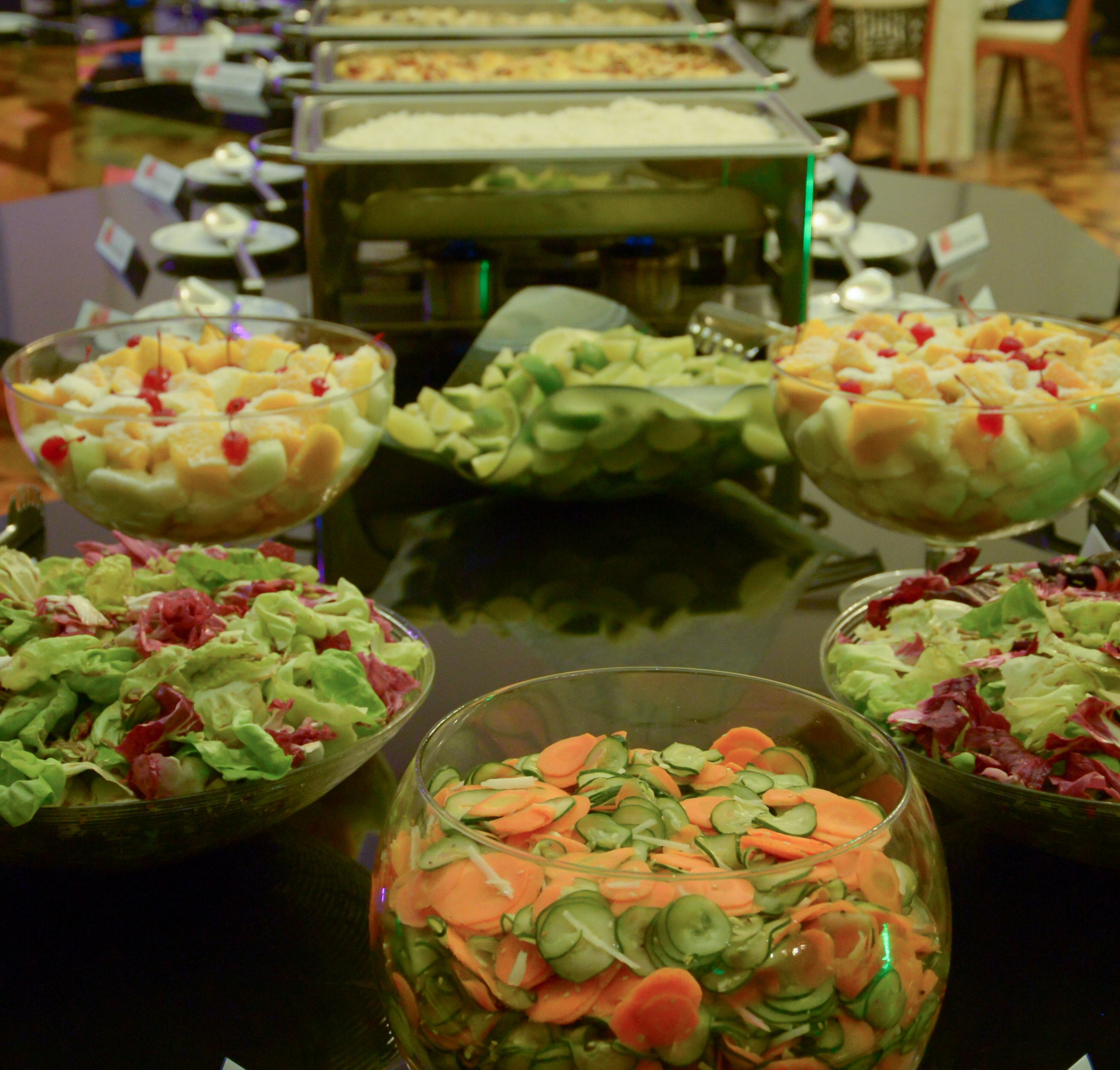 O camarão reinou absoluto na mesa do buffet