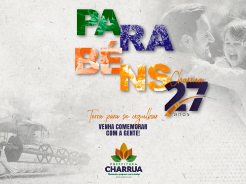 Prefeitura lança programação comemorativa ao aniversário de 27 anos de Charrua