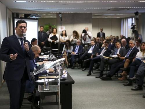 O ministro da Justiça e Segurança Pública, Sergio Moro, durante reunião para discutir sugestões ao Projeto de Lei Anticrime, na Escola Nacional de Formação e Aperfeiçoamento de Magistrados, Enfam.