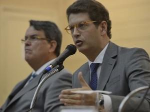 O ministro do Meio Ambiente, Ricardo Salles e o governador do Rio, Wilson Witzel, participam de seminário sobre a água na sede do Tribunal de Justiça do Estado (TJ/RJ), no centro da cidade