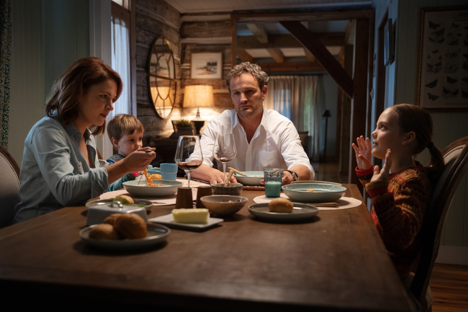 Left to right: Amy Seimetz as Rachel, Hugo Lavoie as Gage, Jason Clarke as Louis and Jeté Laurence as Ellie in PET SEMATARY, from Paramount Pictures.