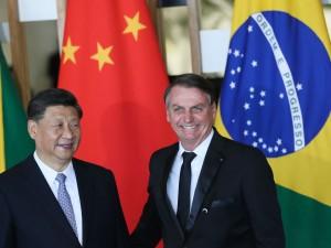 O presidente da República Popular da China, Xi Jinping e o presidente Jair Bolsonaro, durante declaração à imprensa no Palácio do Itamaraty, em Brasília