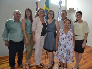 Conselheiros Tutelares Titulares com o presidente do Comdica, Ramão Pedroso do Prado, e a secretária de Administração, Rosane Cadorin Carbonera